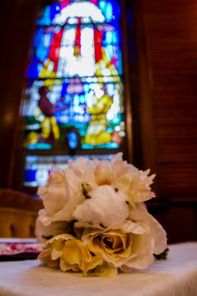 Wedding Bouquet on Alter at Her Majesty's Royal Chapel of The Mohawks